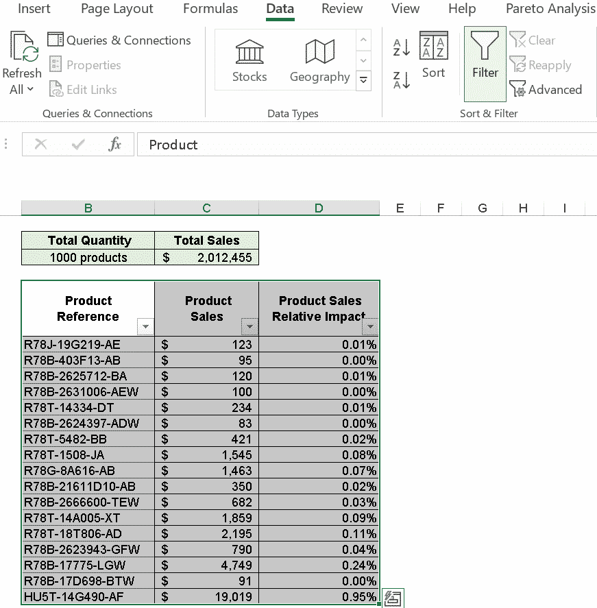 Excel Pareto Analysis - Step 3 - Sort causes by decreasing effects