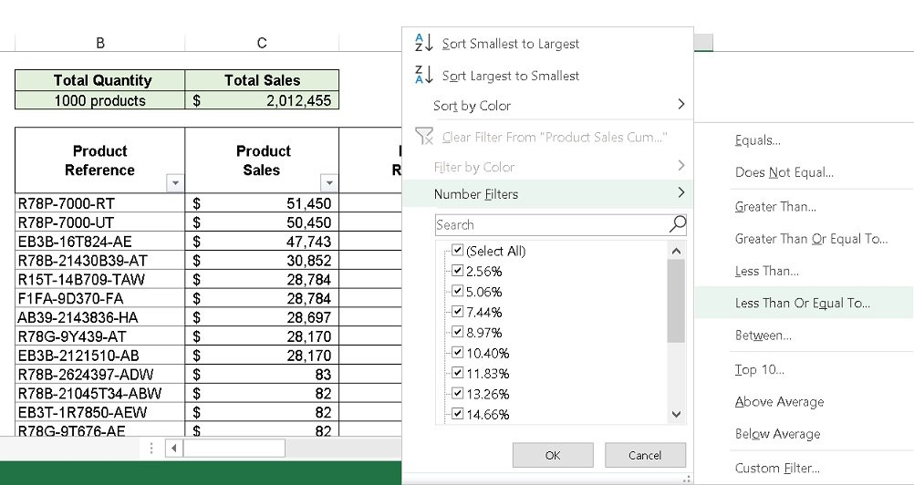 Excel Pareto Analysis - Step 5 - Filter out causes whose cumulative impact is above 80%
