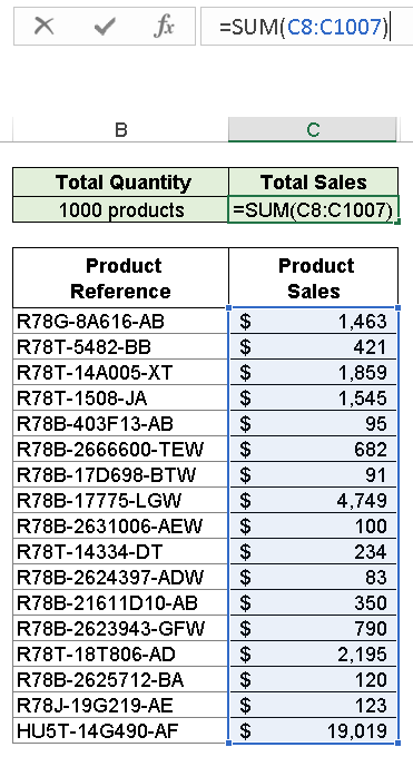 Excel Pareto Analysis - Step 1 - Calculate the total effect