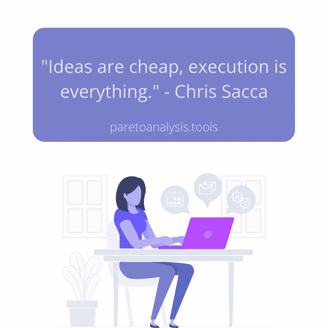 "80/20 Principle - ""Ideas are cheap, Execution is everything"""